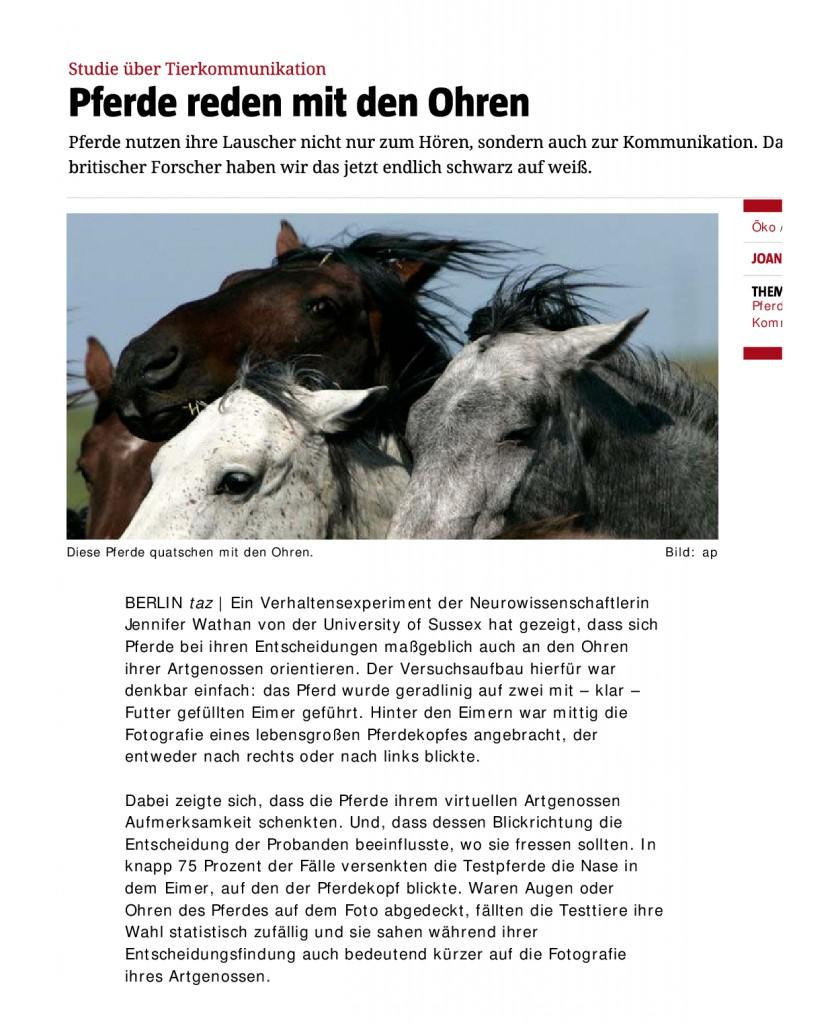 Studie über Tierkommunikation _ Pferde reden mit den Ohren - taz-0